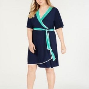 NY Collection Navy Blue Eilat Faux Wrap Dress